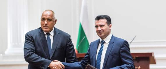 Bulgarian Prime Minister Boyko Borisov (L) and Macedonian Prime Minister Zoran Zaev (R) shake hands during the official signing ceremony of the Neighborhood Agreement between Bulgaria and Macedonia, in Skopje on August 1, 2017. Bulgarian Prime Minister Boyko Borissov arrived for a two-day official visit to Macedonia, in order to sign the long anticipated good-neighborliness agreement between both Balkan countries. / AFP PHOTO / Robert ATANASOVSKI (Photo credit should read ROBERT ATANASOVSKI/AFP/Getty Images)